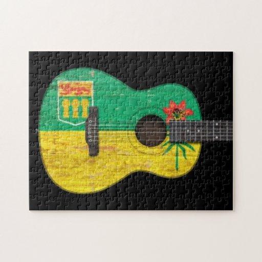 Guitarra acústica de la bandera gastada de Saskatc Rompecabezas