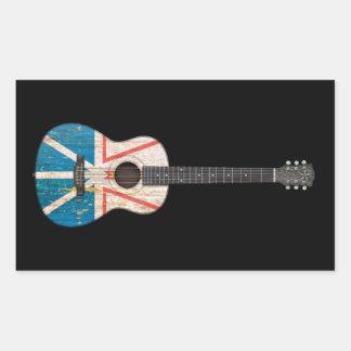 Guitarra acústica de la bandera gastada de Terrano Etiqueta
