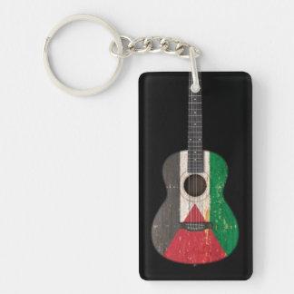Guitarra acústica de la bandera palestina gastada, llavero rectangular acrílico a doble cara