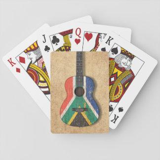 Guitarra acústica de la bandera surafricana cartas de póquer