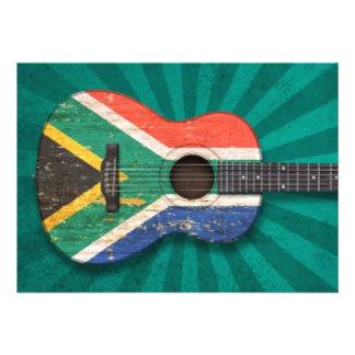 Guitarra acústica de la bandera surafricana gastad invitacion personal