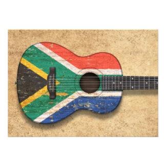 Guitarra acústica de la bandera surafricana gastad invitacion personalizada