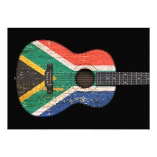 Guitarra acústica de la bandera surafricana gastad anuncio