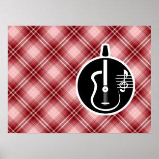 Guitarra acústica de la tela escocesa roja posters