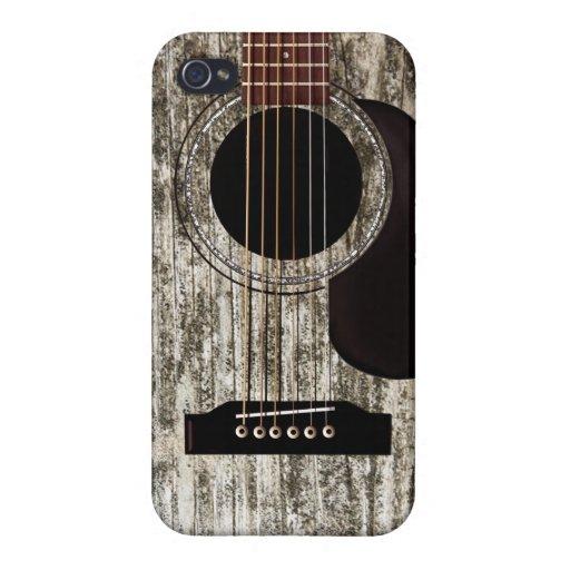 Guitarra acústica de madera vieja iPhone 4/4S fundas