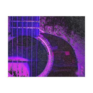 Guitarra acústica de neón impresiones en lona estiradas