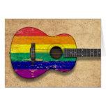 Guitarra acústica del arco iris de la bandera felicitación
