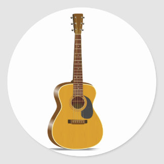 Guitarra acústica del auditorio pegatinas redondas