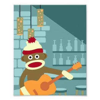 Guitarra acústica del mono del calcetín fotos
