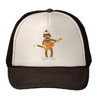 Guitarra acústica del mono del calcetín gorras de camionero