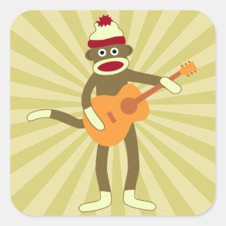 Guitarra acústica del mono del calcetín pegatina cuadrada