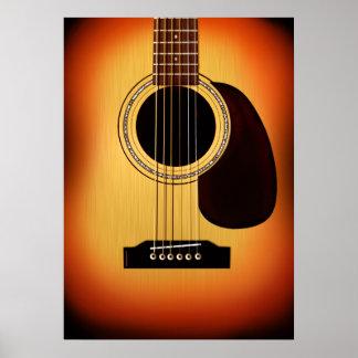 Guitarra acústica del resplandor solar póster