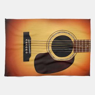 Guitarra acústica del resplandor solar toallas de mano