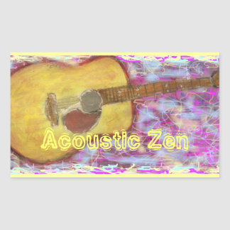 Guitarra acústica del zen pegatina rectangular