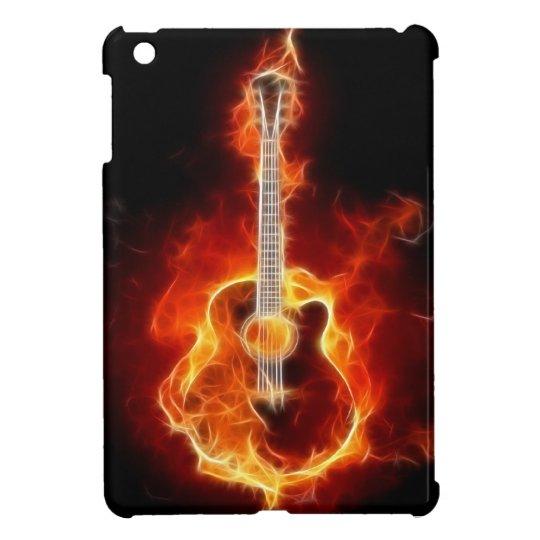 Guitarra acústica en llamas