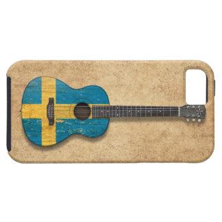Guitarra acústica envejecida y llevada de la bande iPhone 5 protector