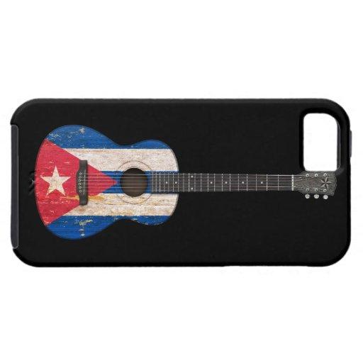 Guitarra acústica envejecida y llevada de la bande iPhone 5 protectores