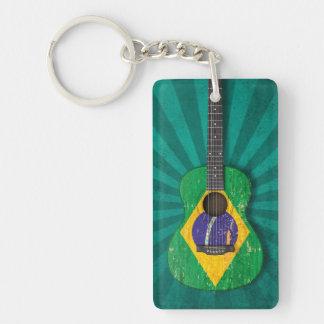 Guitarra acústica envejecida y llevada de la bande llavero rectangular acrílico a doble cara