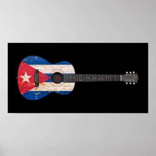 Guitarra acústica envejecida y llevada de la bande poster