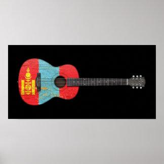Guitarra acústica envejecida y llevada de la bande posters