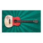 Guitarra acústica envejecida y llevada de la bande tarjetas personales