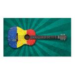 Guitarra acústica envejecida y llevada de la bande plantilla de tarjeta de negocio
