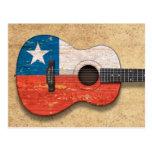 Guitarra acústica envejecida y llevada de la bande tarjeta postal