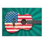 Guitarra acústica envejecida y llevada de la invitaciones personalizada