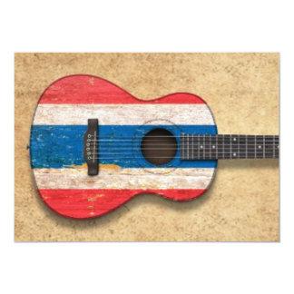"""Guitarra acústica envejecida y llevada de la invitación 5"""" x 7"""""""
