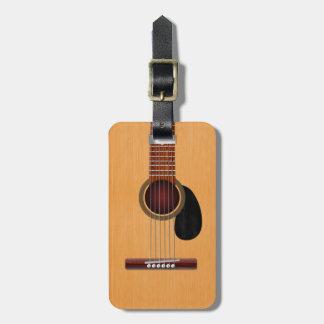 Guitarra acústica etiqueta de equipaje