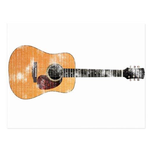 Guitarra acústica horizontal (apenado) tarjetas postales