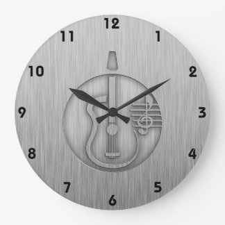 Guitarra acústica; Metal-mirada cepillada Reloj Redondo Grande