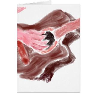 Guitarra acústica que pinta el brazo rojo de la tarjeta pequeña