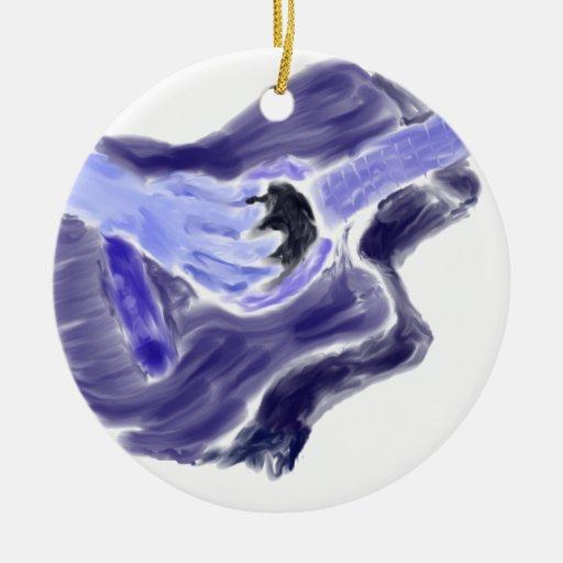 Guitarra acústica que pinta un gris azul del brazo adorno navideño redondo de cerámica