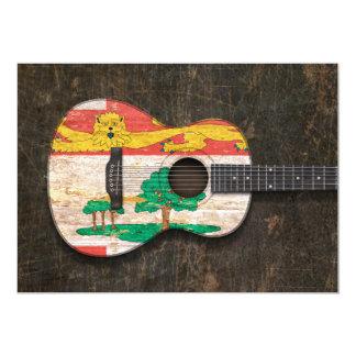 Guitarra acústica rasguñada de Isla del Principe Invitación 12,7 X 17,8 Cm