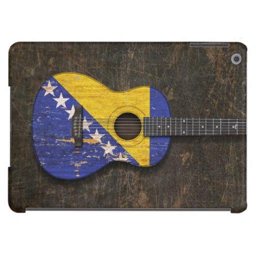 Guitarra acústica rasguñada de la bandera de Bosni