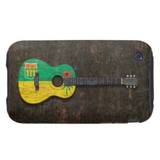 Guitarra acústica rasguñada de la bandera de iPhone 3 tough cobertura
