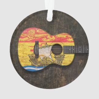 Guitarra acústica rasguñada de la bandera de Nuevo