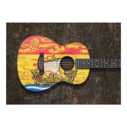 Guitarra acústica rasguñada de la bandera de Nuevo Invitaciones Personales