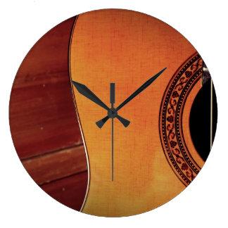 Guitarra acústica reloj de pared