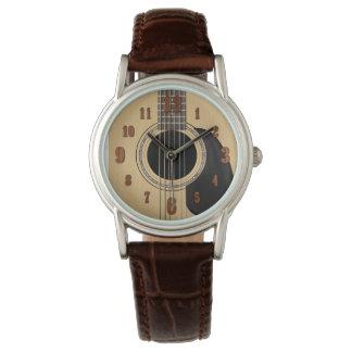 Guitarra acústica reloj de mano