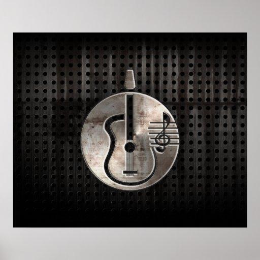 Guitarra acústica rugosa póster