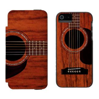 Guitarra acústica superior de caoba funda billetera para iPhone 5 watson