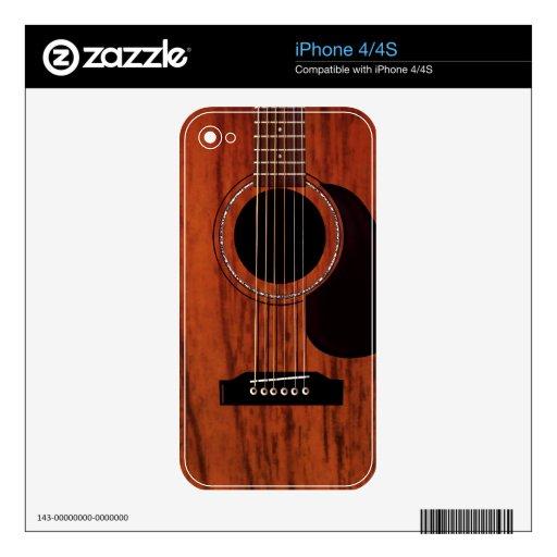 Guitarra acústica superior de caoba calcomanías para iPhone 4S