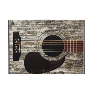 Guitarra acústica superior de madera vieja iPad mini coberturas