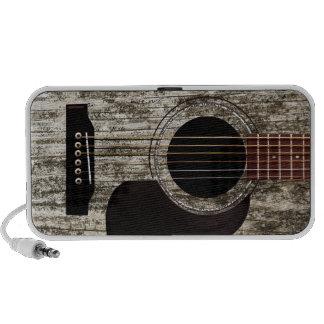 Guitarra acústica superior de madera vieja mp3 altavoz