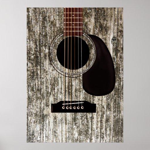 Guitarra acústica superior de madera vieja posters