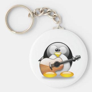Guitarra acústica Tux (Linux Tux) Llavero Redondo Tipo Pin