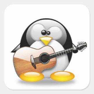 Guitarra acústica Tux (Linux Tux) Pegatina Cuadrada