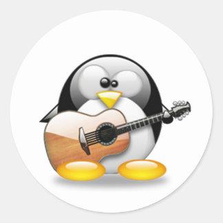Guitarra acústica Tux (Linux Tux) Pegatina Redonda